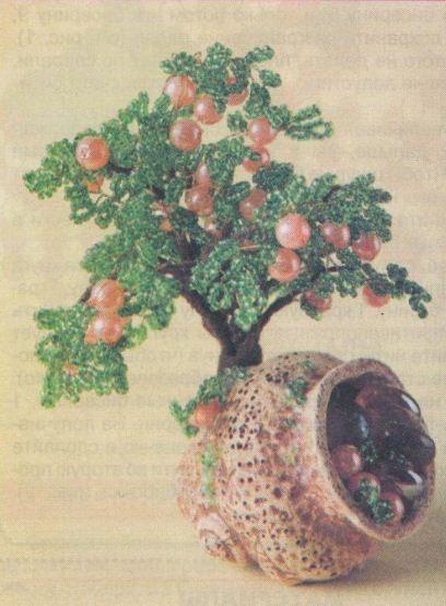 Делаем яблоню из бисера мастер класс