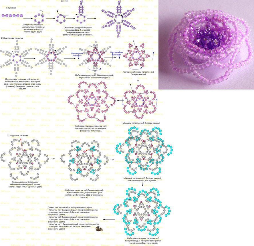 Поделки из бисера цветы со схемами фото 13