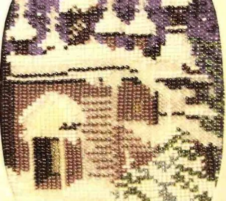 Картина из бисера - зимний домик
