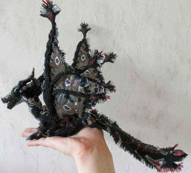 Плетение из бисера схема дракона.