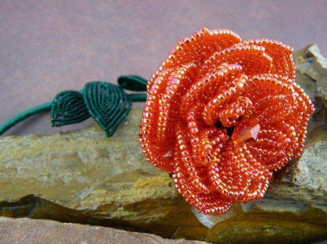 Схема плетения цветка розы из