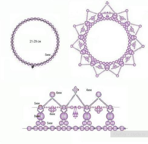 схема плетения маленькой короны из бисера