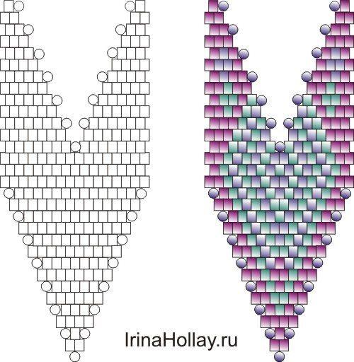 схема плетения листочков
