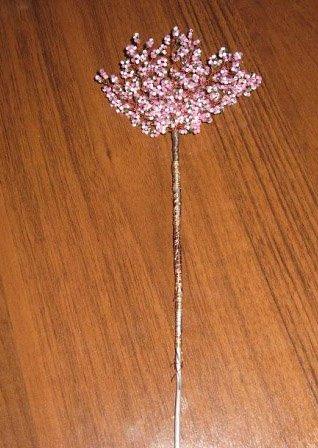 Сакура из бисера схема 2-закрепите деревце