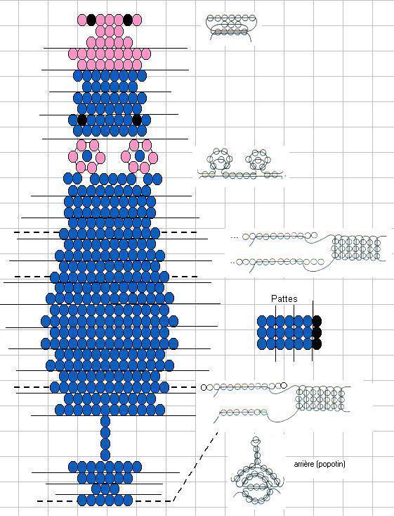 схема плетения бегемота