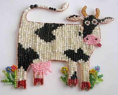 Корова из бисера - схема плетения
