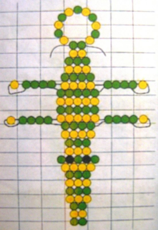 схема плетения брелка в виде крокодила
