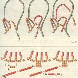 Схема плетения хвоста петуха из бисера