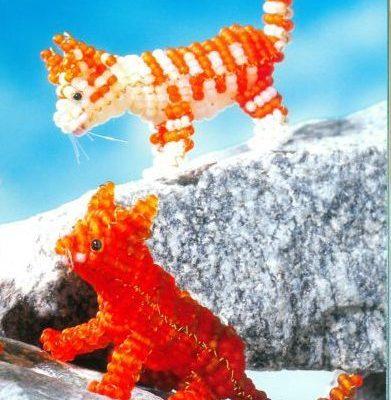 Объемный котенок из бисера - схема плетения