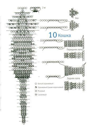 схема плетения котенка