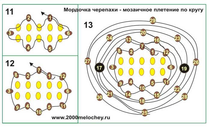 схема плетения: черепаха