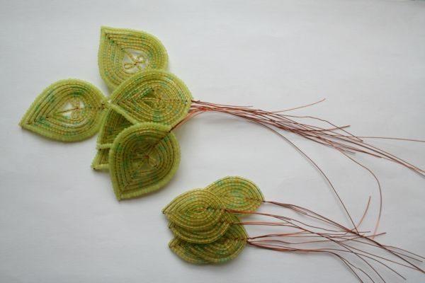 листья для анемоны из бисера