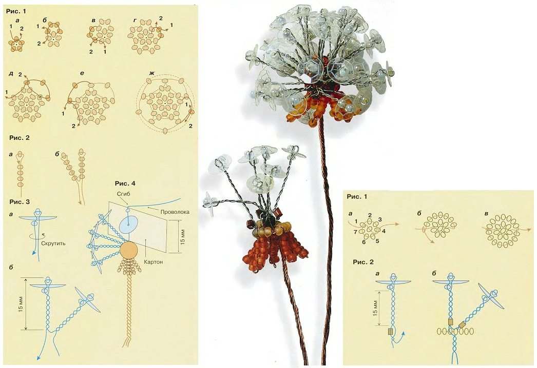 Схема плетения цветка одуванчика из бисера