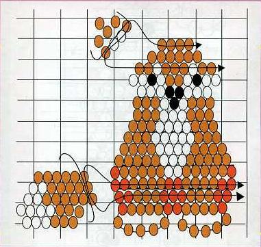 Схема плетения плоской фигурки лисы