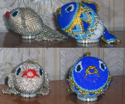 объемная рыбка из проволоки и бисера