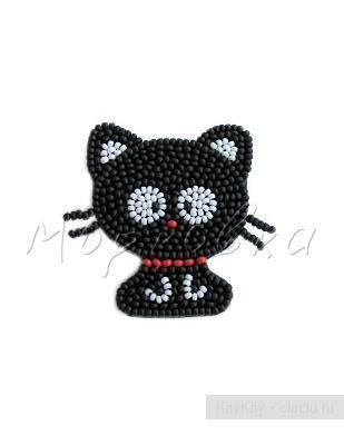 Схема вышивки кошки из бисера