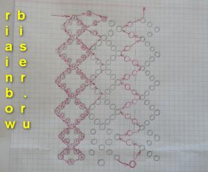 из бисера. ажурную сетку.Набираем на леску 32 бисеринки.Далее плетем по схеме,первые несколько рядов внимательно...