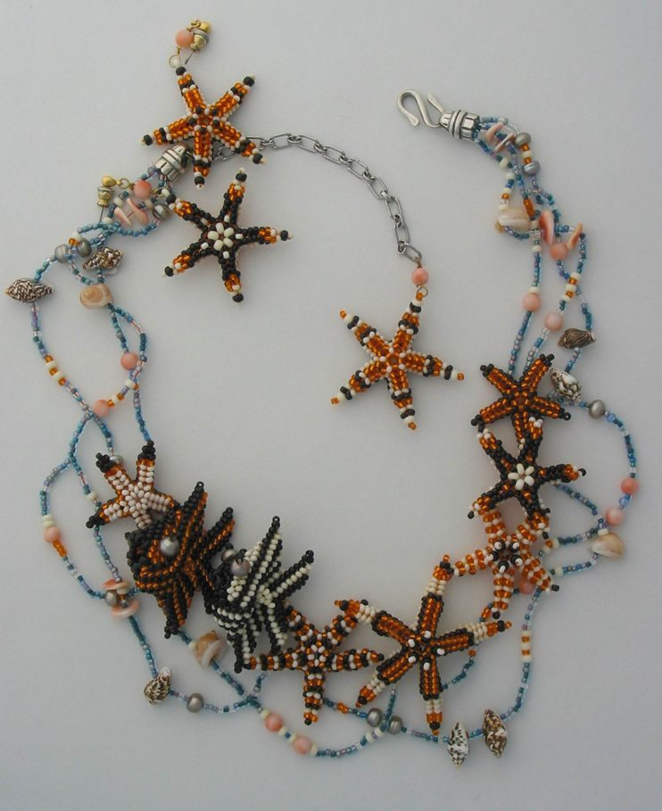 Морские звезды из бисера - колье от Huib Petersen