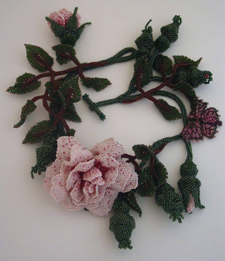 Кустовая роза из бисера от Huib Petersen