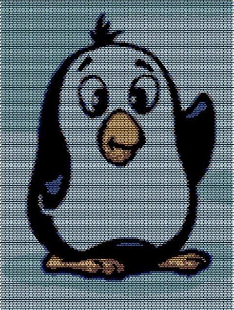 Пингвин картина из бисера