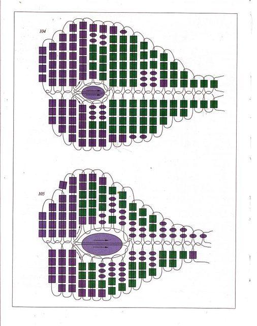 Схема крыльев бабочки из бисера - 2 вариант