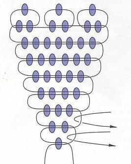 Схема плетения лепестка василька из бисера