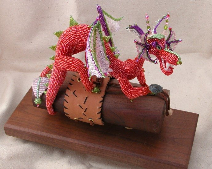 karly@bornofbeads.com.  Dragon Mama.  Round Robin.  Beaded Ornaments.