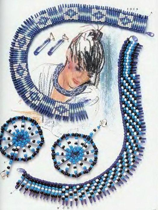комплект украшений из бисера и булавок в голубой расцветке