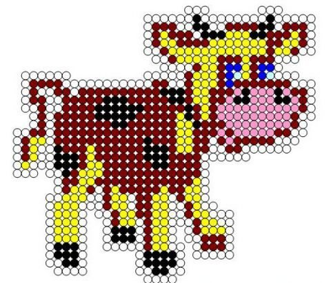 схема вышивки бычка из бисера
