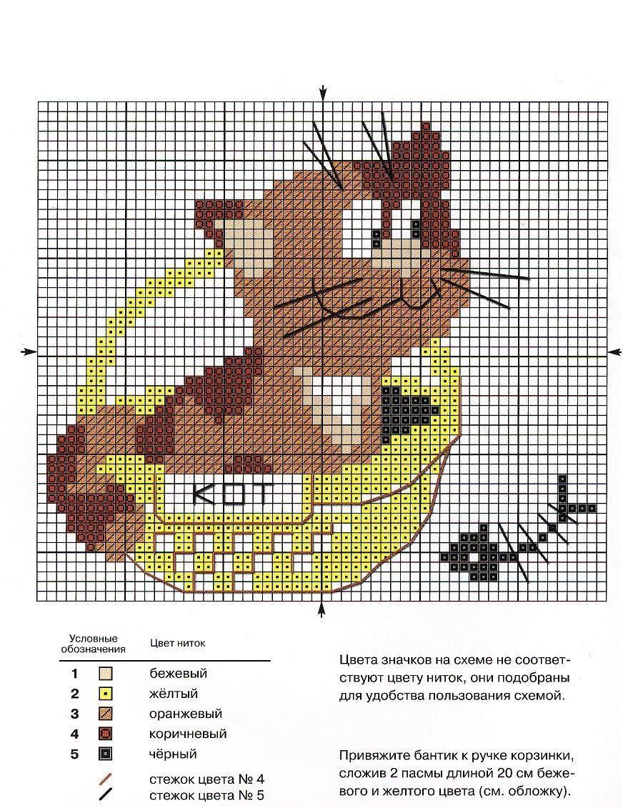 схема вышивки бисером котенок и рыбка