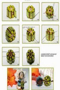 Бусины в виде роллов - схема плетения