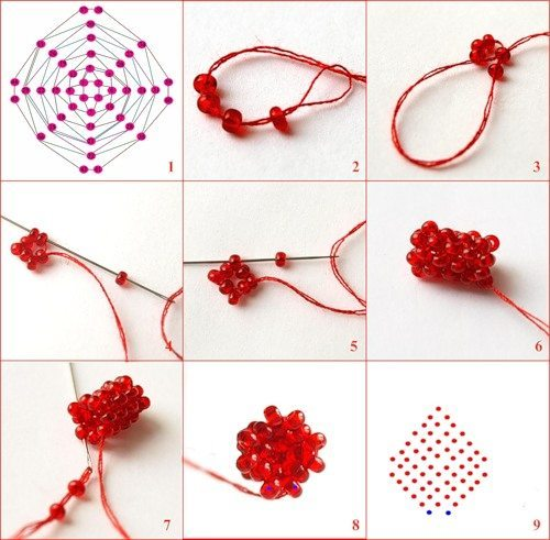 Схема плетения жгута для фуксии из бисера