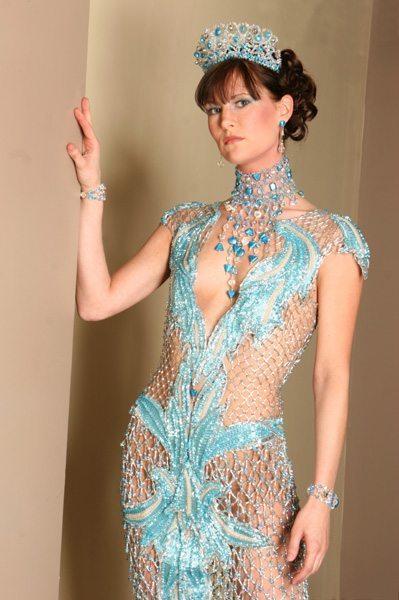 Бирюзовое платье из бисера