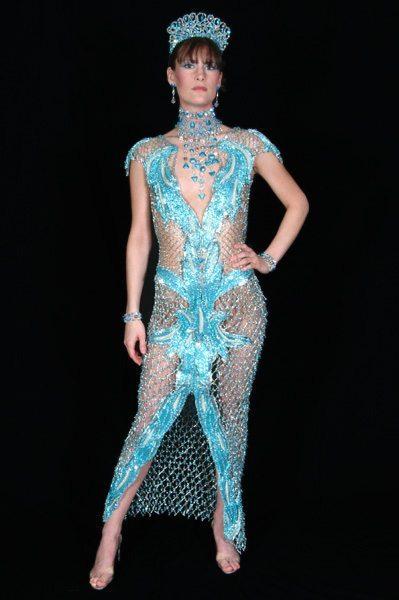 Платье из бисера - бирюза