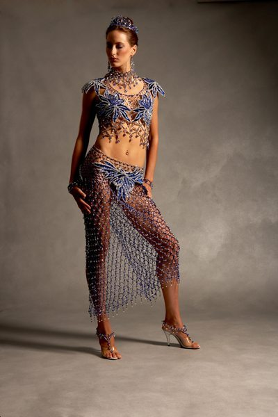 Прозрачное платье из бисера