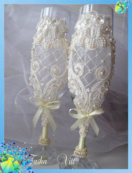 Свадебный бокал бисером