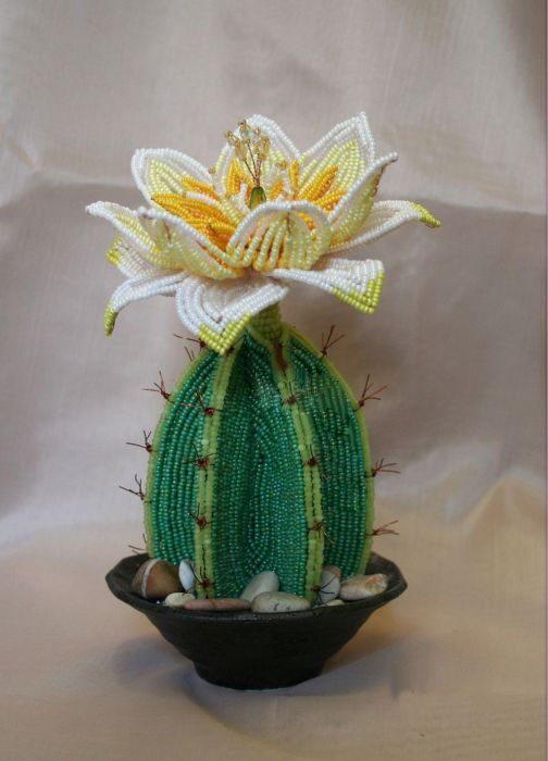 Цветущий кактус из бисера пошаговая инструкция