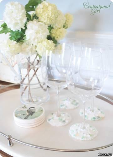 Украшаем бокалы на свадьбу