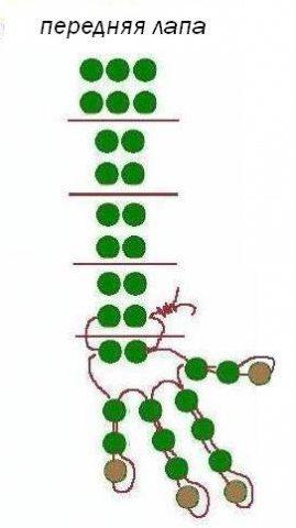 Схема передней лапы дракона из бисера