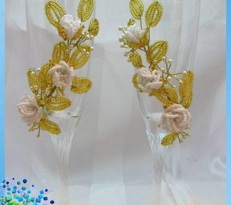 Свадебные бокалы украшенные бисером своими руками