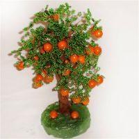 Плетем апельсиновое дерево из бисера