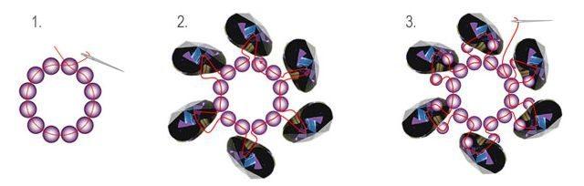 кольцо в форме цветка схема