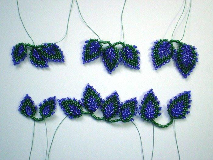 МК по французскому плетению листика из бисера.