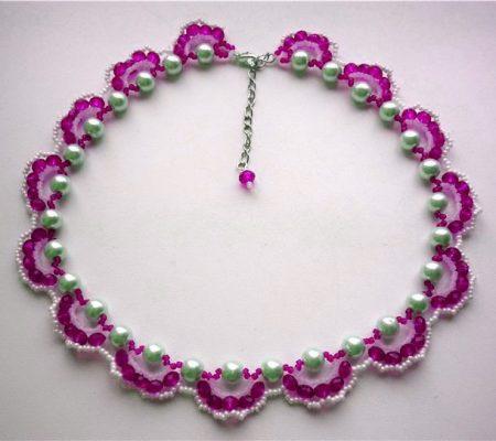 Ожерелье из бисера. Схема плетения.