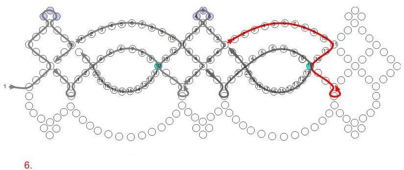 Бисероплетение ожерелья.  Простейшая схема.  Источник.