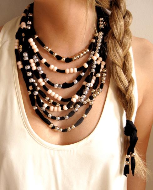 Как сделать ожерелье из ткани и бусин