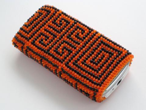 чехол из бисера для мобильного телефона своими руками - оранжево-красный