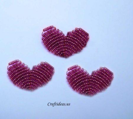 Сердце из бисера на проволоке - схема для начинающих