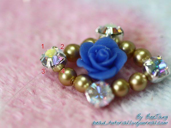 кольцо из бисера и бусин - схема плетения