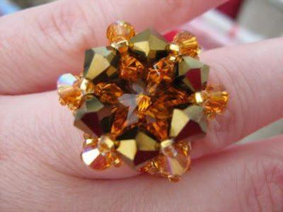 Перстень с риволи и биконусами Сваровски